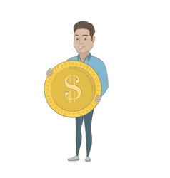 Successful hispanic businessman with dollar coin vector