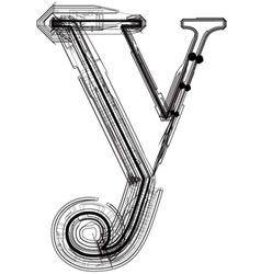 Technical typography Letter y vector