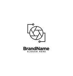 Technology lens and camera logo design vector