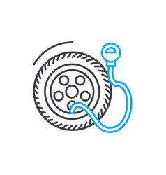 tire pressure thin line stroke icon tire vector image