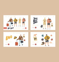 tourists characters with different luggage bags vector image