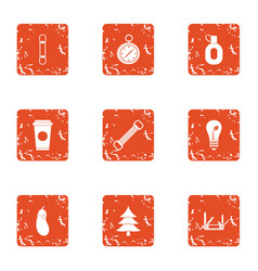 Training in the forest icons set grunge style vector