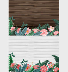 Two background with wooden boards and flowers vector