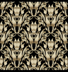 vintage floral baroque 3d seamless pattern vector image