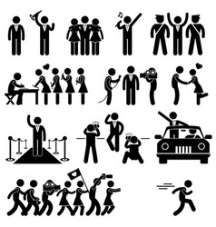 Vip idol celebrity star pictograph a set vector
