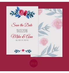 Watercolor template save the date with vector