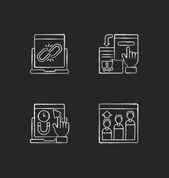 web analytics chalk white icons set on black vector image