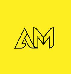Yellow black line alphabet letter am a m logo vector