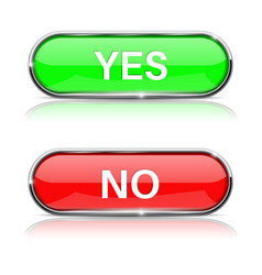 yes and no buttons shiny green and red oval web vector image