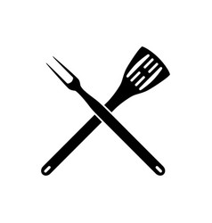 bbq barbeque tools crossed vector image vector image
