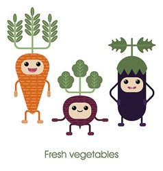 Cartoon Cute smiling vegetables carrots eggplan vector image