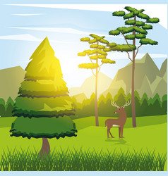 colorful background of sunny landscape with deer vector image vector image