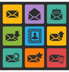 email black icons set vector image vector image