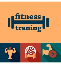 flat fitness and health emblems vector image vector image