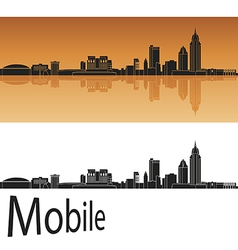 Mobile skyline in orange background vector image