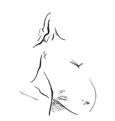 Pregnant woman hand drawn line art cartoon vector