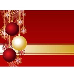 red christmas card with christmas balls and snowfl vector image vector image