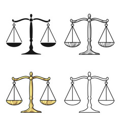 scales of justice icon in cartoon style isolated vector image
