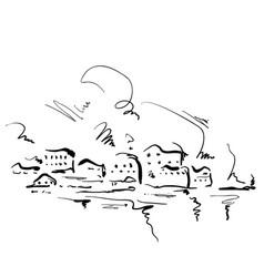 cartoon houses hand drawn landscape vector image
