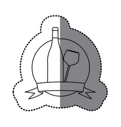 figure emblem wine bottle and glass icon vector image