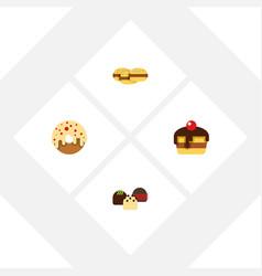 flat cake set of doughnut cake dessert and other vector image