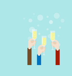 hand with champagne glass party concept vector image vector image