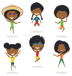 Happy african-american cartoon girsl jumping vector