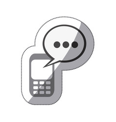 monochrome silhouette sticker of cell phone with vector image