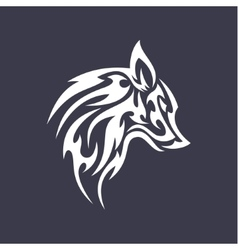 Wolf flat tattoo style logo design smoother vector image vector image