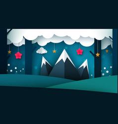 Cartoon night landscape mountain vector