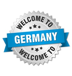 Germany 3d silver badge with blue ribbon vector