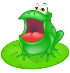 green frog sitting on green leaf vector image vector image