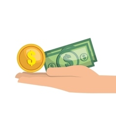 hand money currency cash isolated vector image