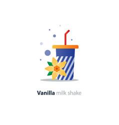 High glass of milk shake with vanilla flower vector