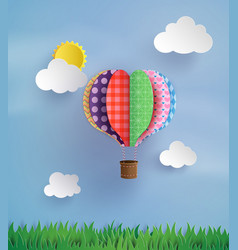 origami made hot air balloon and cloud vector image