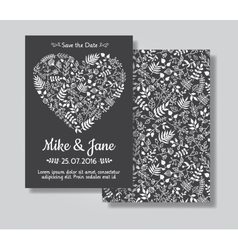 Rustic wedding invitation card set vector image vector image