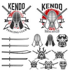 set of japanese fencing martial art emblems kendo vector image vector image