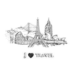 Travel sketch poster vector