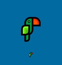 tropic green parrot logo vector image