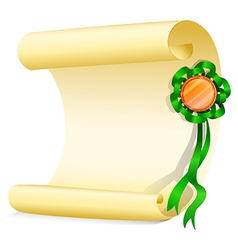An empty paper with a green ribbon vector image vector image