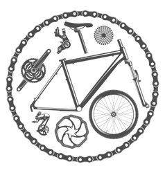 bicycle parts isolated on white background vector image