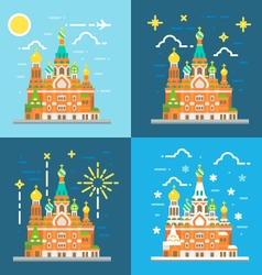 Flat design of church of the savior on blood Russi vector image