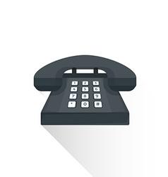 flat style retro black landline buttons phone icon vector image