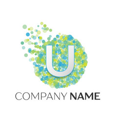 letter u logo blue green yellow particles vector image