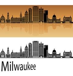 Milwaukee skyline in orange vector image vector image
