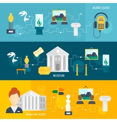 Museum icons banner vector image