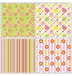 set of patterns with flower stripe and shape vector image vector image