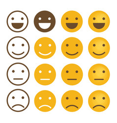 smile emotions icons simple flat round faces vector image vector image