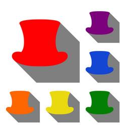 top hat sign set of red orange yellow green vector image vector image
