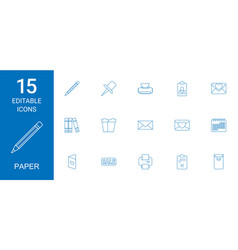 15 paper icons vector